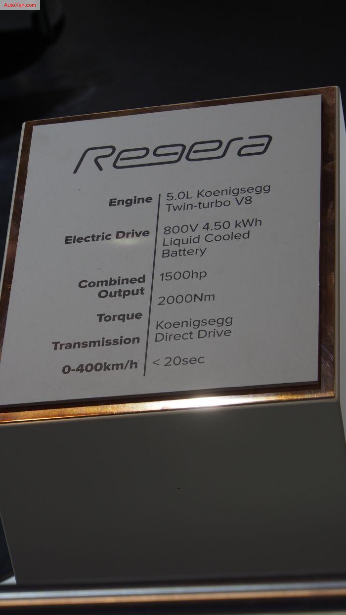 Koenigsegg Regera 5.0L Twin-turbo V8 1500hp